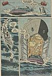 GIJOE Marvel comics issue #29 interior art.  Shows the GI JANE ship docking the WHALE hovercraft in the bow of the ship.