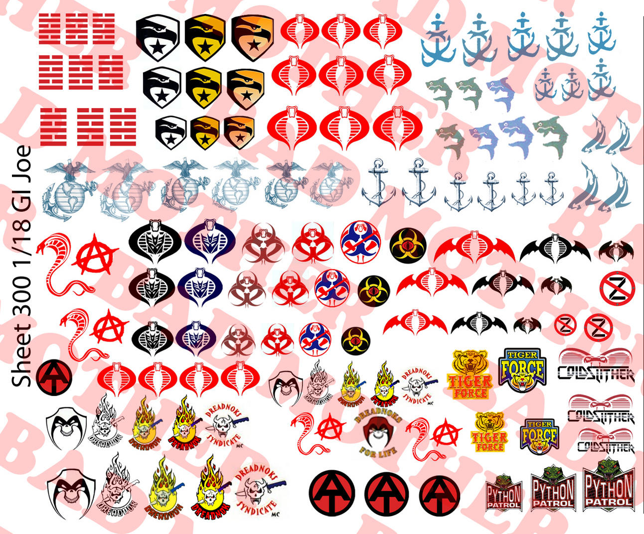 1//12 Scale Gung Ho Chest EGA Tattoo for 6 inch Figures Waterslide Decals