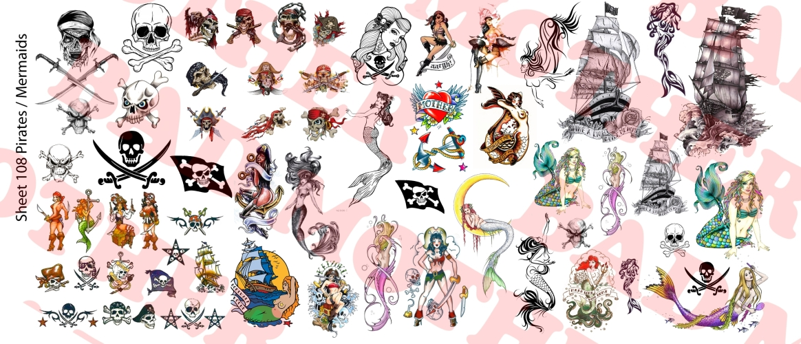 1//6 Scale Custom Tattoos Old School and Nautical Waterslide Decals